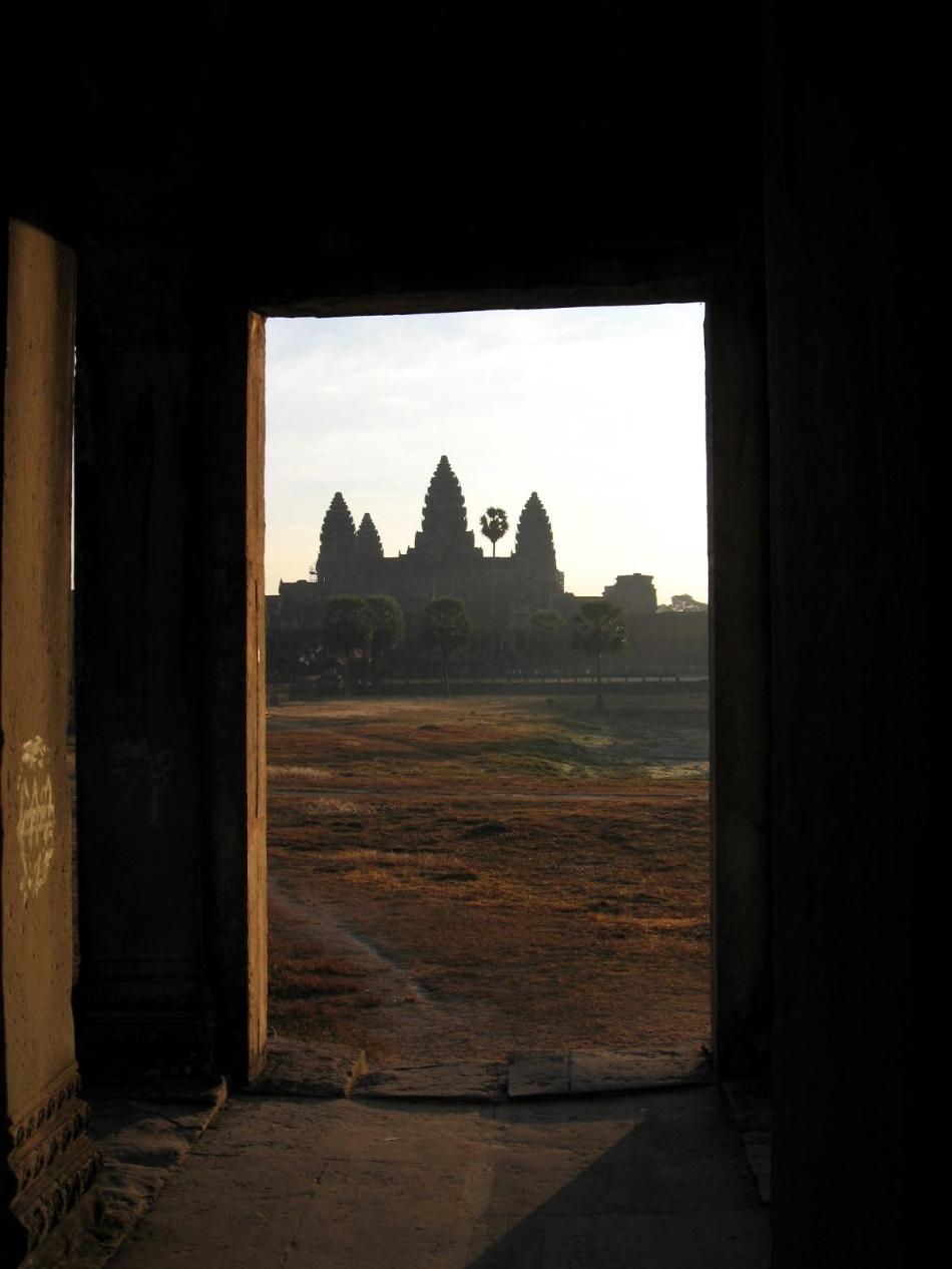 angkor-framed-by-side-temple-door-sunrise