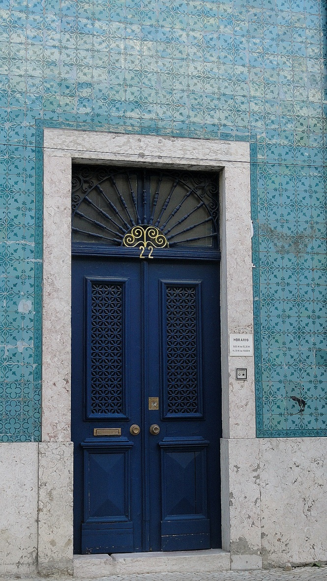 Blue Door - Green Tile