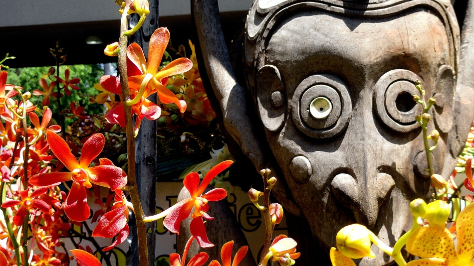 Statue Detail & Orchids