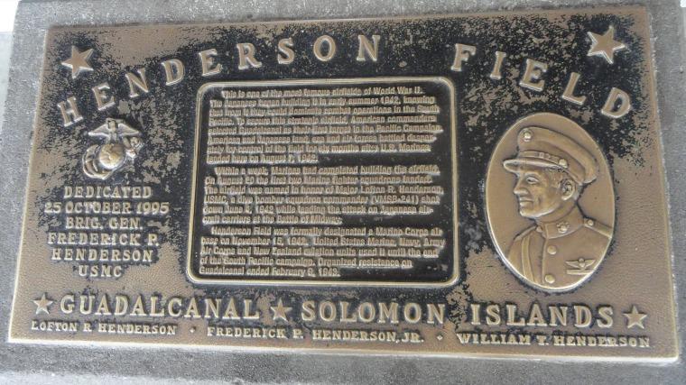 Henderson Field Plaque