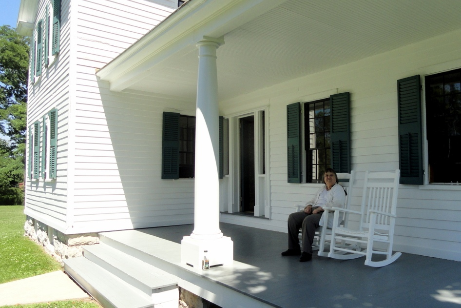 Mom on Stanton House Porch