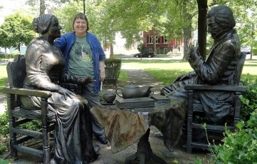 Mom w Susan B Anthony & Frederick Douglass Statue