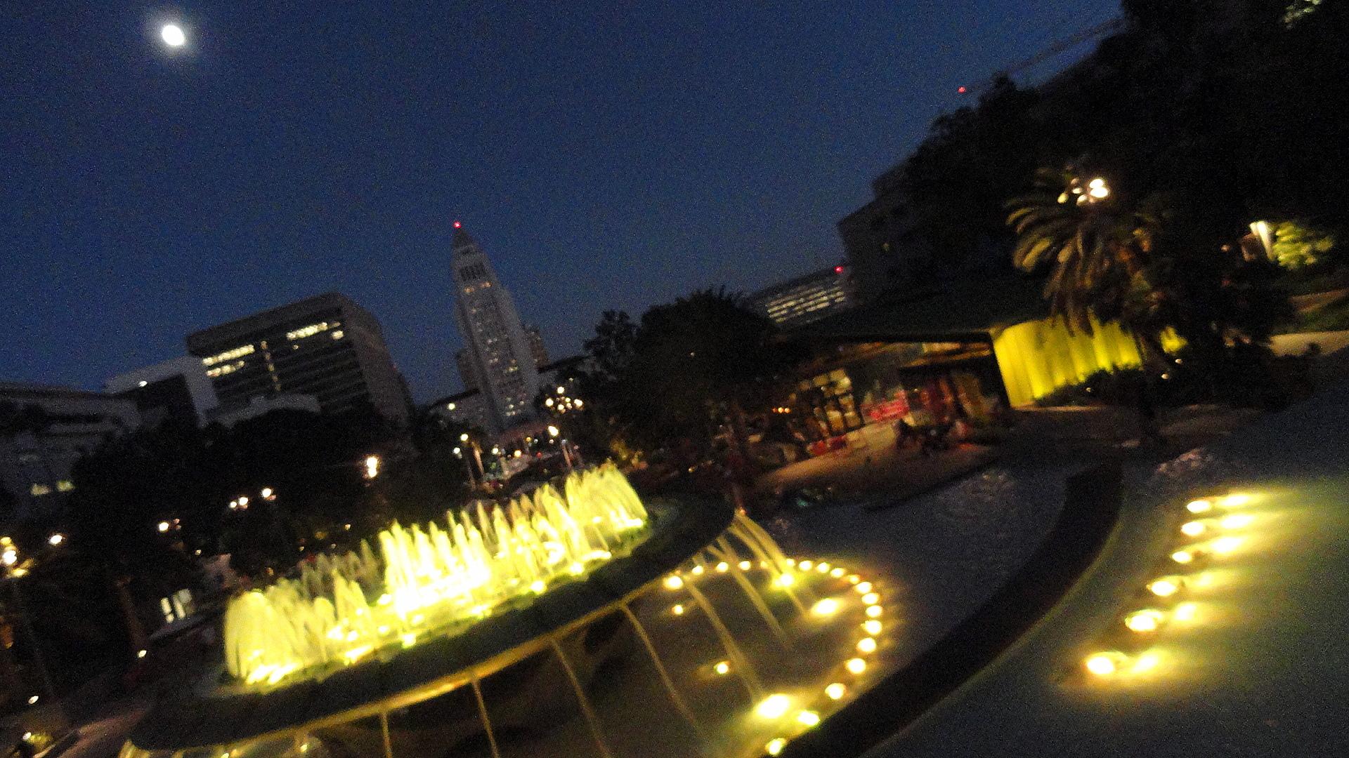 LA Grand Park Ftn Moonrise 2