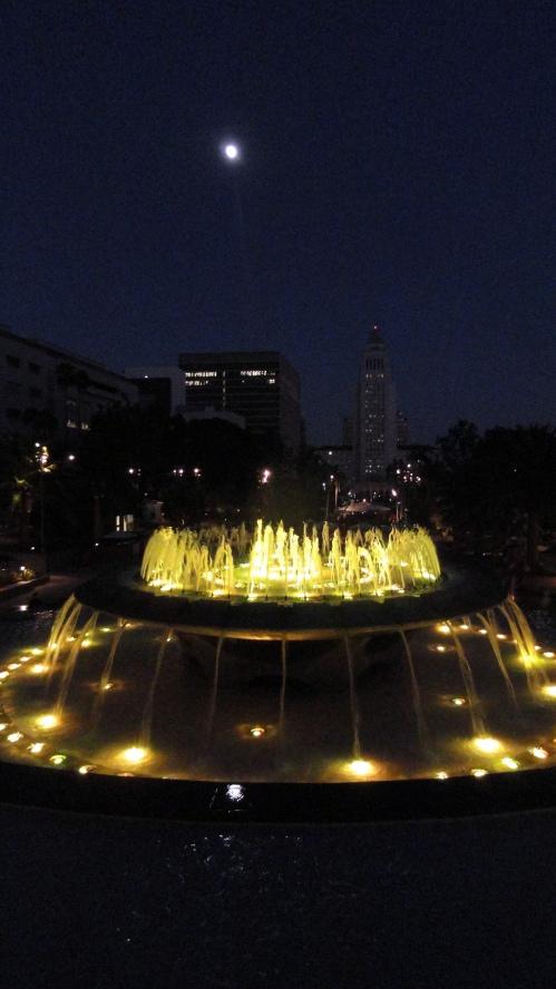 LA Grand Park Ftn Moonrise