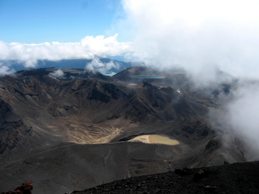 Ngauruhoe Summit View of Lakes & Clouds