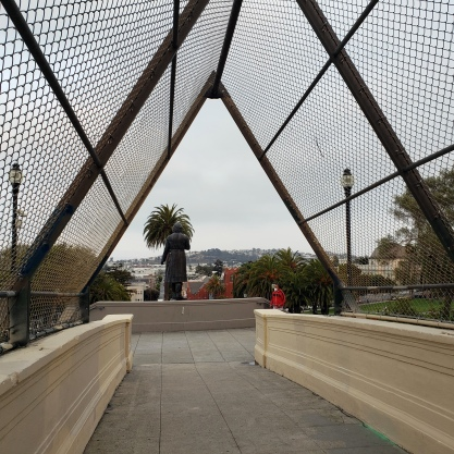 Potrero Hill from Footbridge w Hidalgo Statue