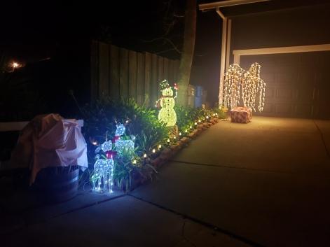 Snowman & Reindeer in Lights